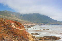Travel Concepts and Ideas. The Range of Cloudy Mountains and Amazing View of Pacific Coastline. Stock Photos