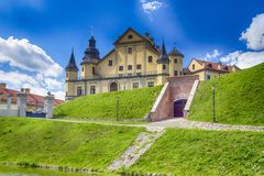 Travel Concepts and Tourist Destinations. Renowned Nesvizh Castle. On The Hill as a Profound Example of Medieval Ages Heritage and Reence of the Radziwill royalty free stock images