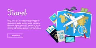 Travel Conceptual Flat Style Vector Web Banner Royalty Free Stock Photos