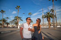 Travel couple happy in Barcelona Stock Photo
