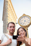 Travel couple taking selfie in NYC New York City Stock Photography