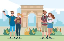 Travel couples with backpack in the arc triomphe destination royalty free illustration