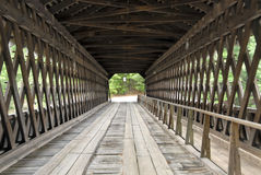 Travel through covered wooden bridge Stock Photo