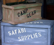 Travel crates. Camp gear and safari supplies crates Royalty Free Stock Photography