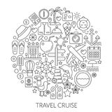 Travel cruise thin line vector concept illustration. Voyage vacation traveling stroke outline poster, template for web. Travel cruise thin line vector concept Royalty Free Stock Photos