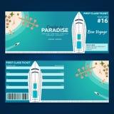 Travel. Cruise to Paradise. Ticket. Cruise liner. Ship. Vector flat illustration. Travel. Cruise to Paradise. Ticket. Cruise liner. Ship Vector flat Stock Images