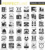 Travel cruise vacation black mini concept icons and infographic symbols set. Travel cruise vacation black mini concept icons and infographic symbols Stock Photography