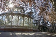 Travel, Crystal Palace in the Retiro park Madrid, Spain. Lake in Retiro park, Madrid Spain nature Stock Photos