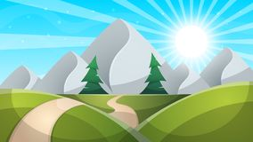 Travel day cartoon landscapen. Mountain, fir, road illustation. Travel day cartoon landscapen. Mountain, fir, road illustation Vector eps 10 Stock Photography