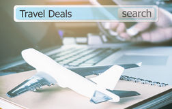 Travel deals in a search box for travel agency Stock Photo