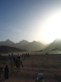 Travel through desert in strange light Royalty Free Stock Image