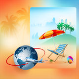 Travel design with airliner surrounding Earth globe Stock Photos