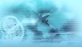 Travel design background. Landing airliner in the background digital world map,gears,binary data codes and wireframe tech lines Stock Illustration