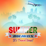 Travel design background with colorful Summer text royalty free illustration