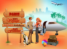 Travel design background with a young couple preparing to go in an exotic holidays Royalty Free Stock Image