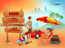 Travel design background with a young couple sitting, talking about next destination Stock Images
