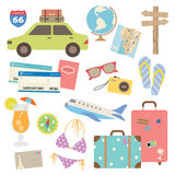 Travel Design Elements. Illustration of design elements related to travel and vacation Stock Images