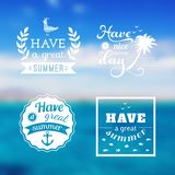 Travel design set of summer vacation logo. Ocean backdrop. Vector. Editable. Blurred. Typography label, Lettering, Typography quot. E. Logo Stock Photography