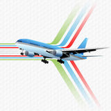 Travel design template with Airliner flying Stock Photos