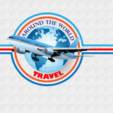 Travel design template; Airliner flying over Earth globe Stock Photo