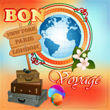 Travel design template With Earth globe and suitcases ready to go Royalty Free Stock Photography
