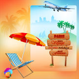 Travel design template with sunbed in front of exotic view Stock Photography