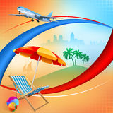 Travel design template with sunbed and umbrella Stock Image