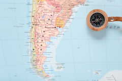 Travel destination Argentina, map with compass Stock Photo