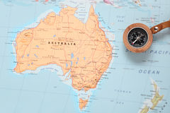 Travel destination Australia, map with compass Stock Images