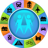 Travel Destination Buttons - Wheel Stock Image