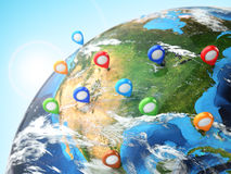 Travel destination concept. Pin on earth. Navigation in USA. 3d stock illustration