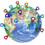 Travel destination concept. Pin on earth. Navigation in USA. 3d Royalty Free Stock Image