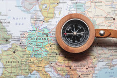 Travel destination Germany, map with compass Stock Images