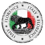 Travel destination grunge rubber stamp with symbol of Florence royalty free illustration