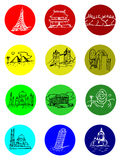 Travel Destination Icons. 9 colorful travel destination icons isolated royalty free illustration