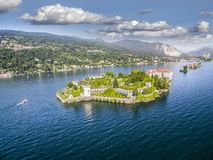 ISOLA BELLA AERIAL DRONE PHOTO. MOST BEAUTYFUL ISLAND IN ITALY. royalty free stock photo