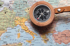 Travel destination Italy, map with compass Royalty Free Stock Image