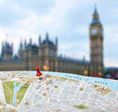 Travel destination London map push pin blur Stock Images