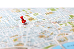Travel destination map push pin Stock Image