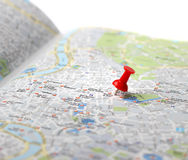 Travel destination map push pin Royalty Free Stock Images