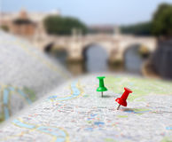 Travel destination map push pins blur Stock Photo
