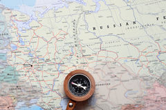 Travel destination Moscow Russia, map with compass. Compass on a map pointing at Moscow Russia, and planning a travel destination royalty free stock image