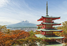 Travel destination - Mt. Fuji with red pagoda in Spring, Fujiyos Royalty Free Stock Photo