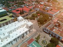 Travel destination in Nicaragua. Central square of Leon city in Nicaragua aerial view Royalty Free Stock Photos