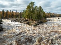 Panoramic view of the St. Louis River rapids from the swinging bridge at Jay Cooke State Park in Northern Minnesota. Travel destination is in Northern Minnesota stock images