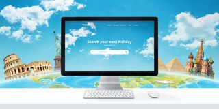 Free Travel Destination Online Concept. Web Site With Search App And Famous World Sights Behind The Globe In The Background Stock Photos - 152684223