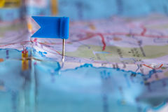 Travel destination pin points on a map with colorful thumbtacks Stock Photos