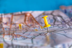Travel destination pin points on a map with colorful thumbtacks Royalty Free Stock Images