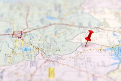 Travel destination points on a map. Travel Concept. select focus Royalty Free Stock Photo