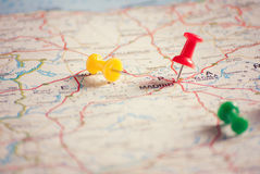 Travel destination points on a map, filtered Royalty Free Stock Photography